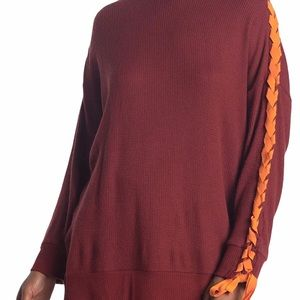 Free People Snow Drift Lace Up Sweater L NWT